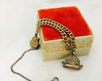 Antique Victorian Gold Filled A.A. Greene Company Vest Pocket Clip Watch Chain Fob & Seal Fob