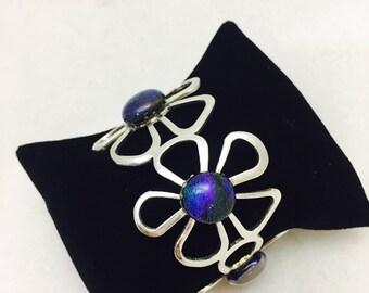Vintage Sterling Silver Iridescent Floral Flower Cuff Bracelet - 35.3 Grams