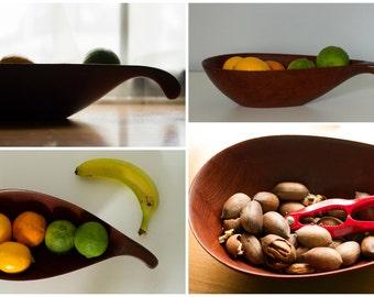 Vintage Mid Century Danish Modern Teak Bowl AL-BO Made In Denmark, Biomorphic, Free Form , Organic Form