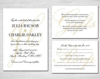 Printable Wedding Invitation -Elegant Calligraphy - DIY Wedding Stationery PDF