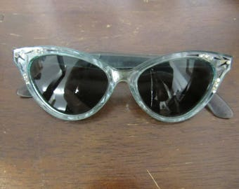 Vintage Blue Plastic and Rhinestone Foster Grant Cat Eye Glasses