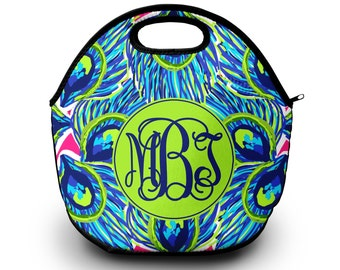 Monogram Lunch Bag | Lilly Pulitzer Inspired Lunch Bag | Gift For Her | Lunch Bag for Women