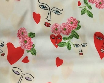 White Hearts printed fabric imitated silk fabric by 1m - 145 cm Wide x 100 cm