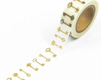 1 Roll MT Washi Tape Vintage Keys Design 15mm x 10meters For Gift Wrap//DIY//Craft//Stationary//Scrapbooking//Card Making//Collage