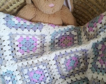 Handmade Baby Blanket, Crocheted Granny Squares, Baby Girl, 24 x 24 inches, Pretty Blossom Pastel Shades