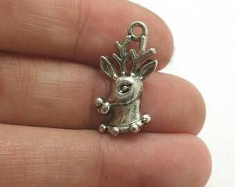 BULK 50 Deer or Reindeer Charms, Silver Deer Charms, Christmas Charms, Animal Charms, Bulk Charms (5-1349)