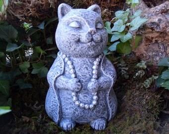 Buddha Cat Statue,Zen Garden Art, Lucky Cat Buddha,Meditating Cat,Yoga Cat Statue,Buddha Statue,Zen Garden Decor,Cat Memorial,Concrete