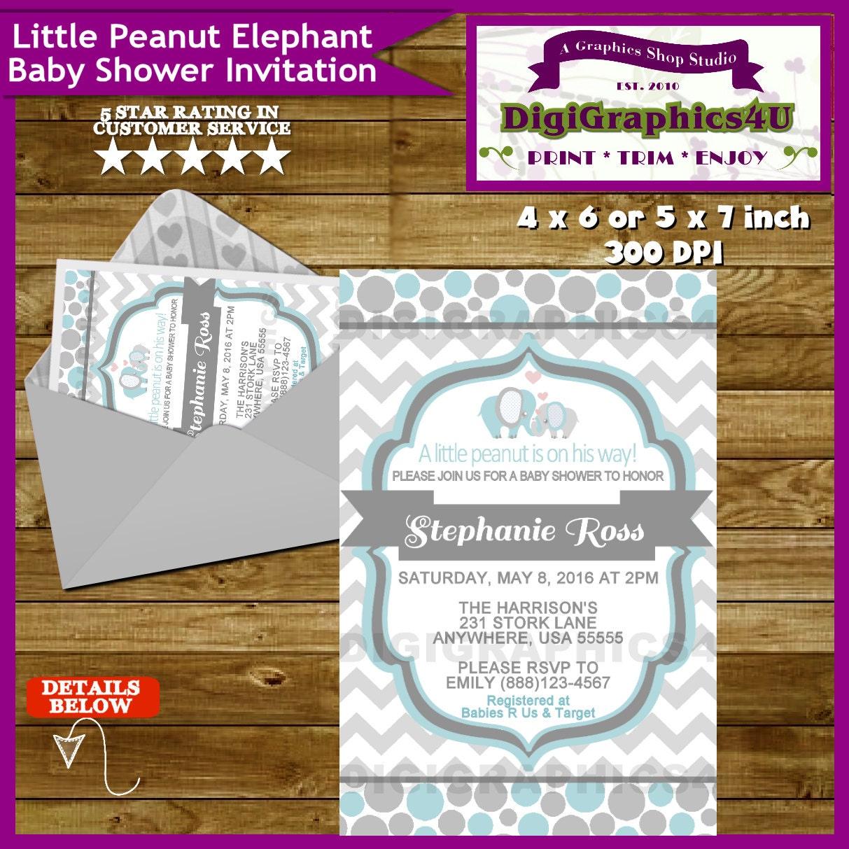 baby boy little peanut elephant baby shower invitation
