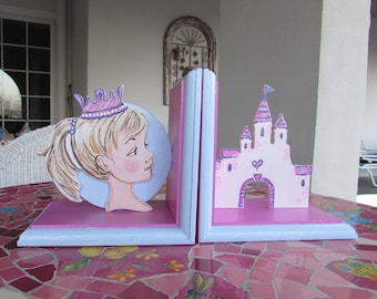 Princess Bookends,Painted Bookends, Princess Nursery, Children's Bookends, Castle Bookends, Girls Bookends, Kid's Bookends