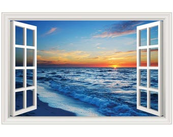 Beach Ocean Sunset #2 Wall Decal Sticker Graphic Art - 4 Sizes Available (More Options)