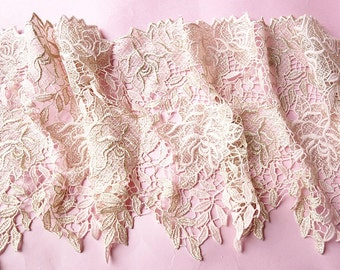 1 Yards Lace Trim Light Gold Rose Floral Embroidered Tulle Lace 9.84 Inches Wide High Quality