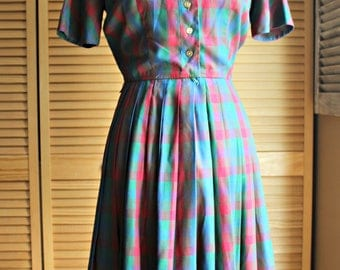 Vintage. Dress. 1950's. Miss Donna. red/green/blue/buttons. Too cute! Great shape!