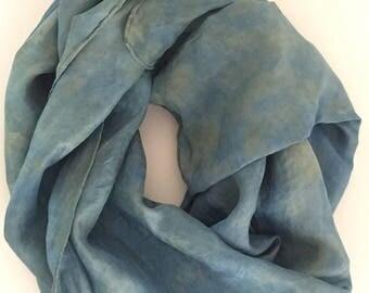 Art textile silk scarf - eco-dyed, indigo-dyed, unique wearable art