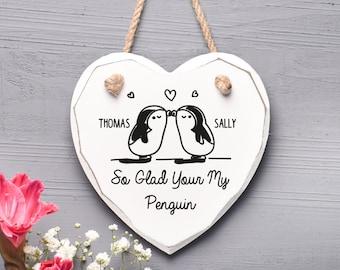 Penguin Heart Gift, Valentines Gift home Decor Gift H3