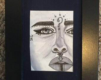 """Original """"Lost"""" Drawing - Framed"""