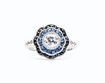 Dramatic Art Deco Diamond, Sapphire, & Onyx Engagement Ring in Platinum
