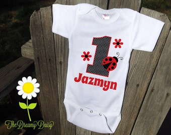 Personalized Ladybug Birthday Bodysuit - Ladybug Infant Creeper - Birthday Personalized Bodysuit or T-Shirt - Custom Baby Girl One Piece