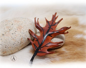 Hair barrette leather oak leaf, clip leather,brown for woman, for girl, faerie, GN, fashion