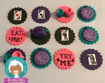 Alice in wonderland inspired fondant cupcake topper