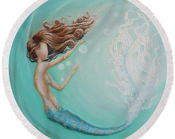 large round mermaid beach towel, mermaid bubble festival blanket, mermaid picnic blanket, original painting by Nancy Quiaoit