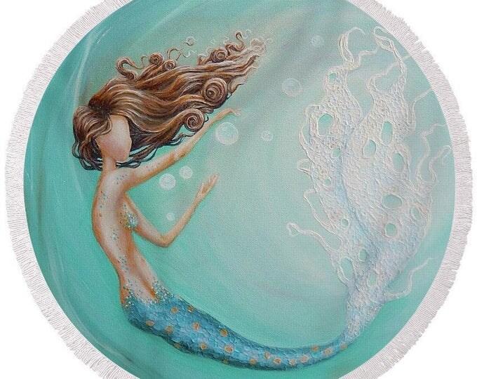 large round mermaid beach towel, mermaid bubble festival blanket, mermaid picnic blanket, original painting by Nancy Quiaoit