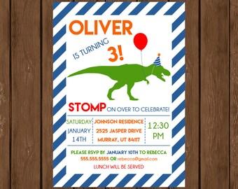 Dino Themed Birthday Invite, Dinosaur Birthday Invite, Printable Birthday Invitation, Dinosaur Invitation, Custom Birthday Invitation, 016