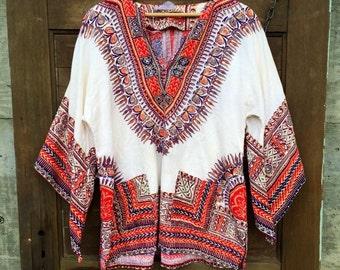 Vintage 70's Bell Sleeve Dashiki True Hippie Tunic Top Size Medium/large