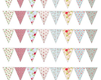 CK Style Vintage Edible Floral Bunting Wafer/Icing Sheet