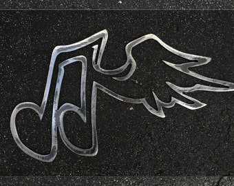 Metal Art Music Note with Wing