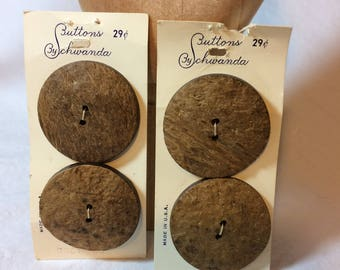 Great Big Vintage Coconut Buttons on Original Cards