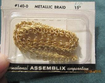 """Metallic gold braid trim, 1/2"""" x 15"""" still in original package"""