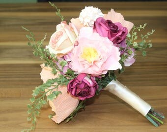 Peach and Pink Paper Flower Bouquet | Bridal Bouquet