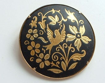 Lovely bird and flower brooch