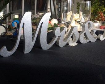 SILVER Mr. & Mrs. letters wedding table decor, standing Silver Mr and Mrs signs for sweetheart table, Mr and Mrs Wedding Signs, Mrs Letters