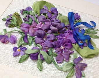 Mountain Violet  Silk Ribbon Embroidered Card