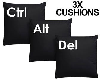 3x Ctrl Alt Del Black Cushion Keyboard Pillow Geeky Computer Keys Plush Video Game New