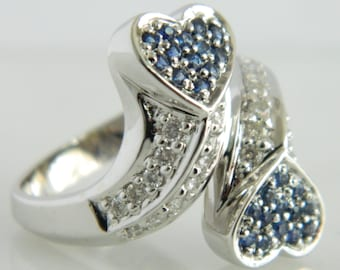 Gorgeous Diamond & Blue Sapphire Heart 18K Gold Ring