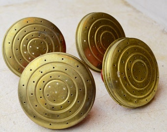 4 Vintage 1970's Watering Can Rosettes, Red, Brass, NOS, Sprinkler, Found Object, Garden Supply