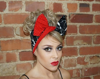 Black Scissors Rockabilly Retro Pin up Wired Reversible Headband Headwrap