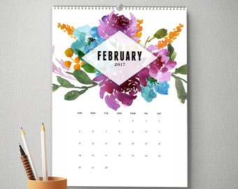 Monthly Wall Calendar, 11x14, 2017 Calendar, Watercolor Flower Gifts for Her  (cal0007)
