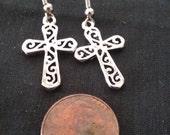 HUGE 75% off SALE Filigree Cross Earrings, Silver Plated Cross Earrings, Nickle Free Jewely, Cross Jewelry, Religious Jewelry