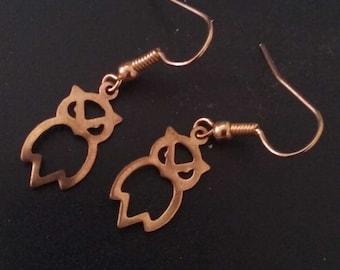 Gold Tone Owl Earrings, Gold Owls, Owl Earrings, Owl Jewelry, Gold Color Owl Jewelry