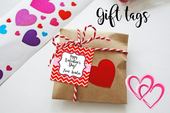 Valentine Cards - Printable - Valentine's Tags - Chevron Print - Red Chevron - Gift Tags