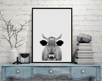 Cow Print, Cow Photo, Printable Art, Cow Art, Farm Animals, Black And White cow, Art Print, Textured, Wall Decor Art, Instant Download *260*
