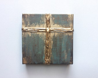 """Gold Cross Knife Painting 6""""x6"""", thick texture, gold leafing, hand painted"""