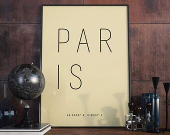 Paris Typography Print. Poster.
