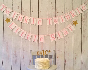 Twinkle twinkle little star banner, first birthday, star banner, star decor, baby shower decor, little star