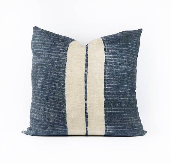 Indigo Linen Hmong Tribal Textile Pillow Cover 24x24