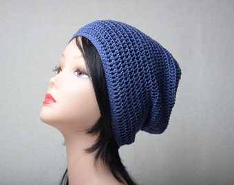 cotton slouchy hat spring beanie summer blue hat crocheted hat gift for her womens beanie fashion cotton beanie summer beanie