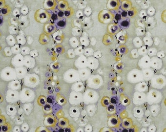 Yellow and Purple Striped Flower Petals Cotton Print Upholstery Fabric By The Yard | Pattern # B0304B